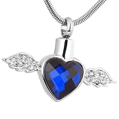 Blue Winged Heart Ash Necklace