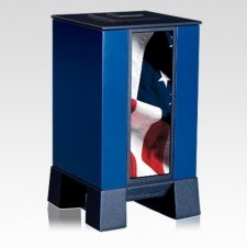 Blue & Flag Modern Cremation Urn