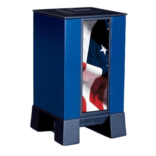 Blue & Flag Modern Cremation Urn