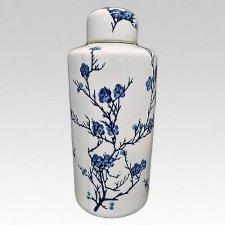 Blue Blossom Ceramic Urn