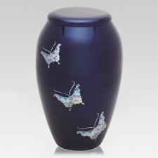 Blue Butterflies Cremation Urn