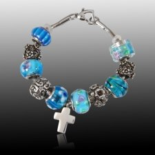 Blue Cross Cremation Bracelet