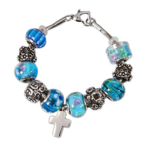 Blue Cross Cremation Bracelet