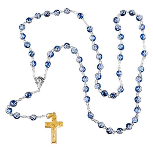 Blue Crystal Gold Cremation Rosary