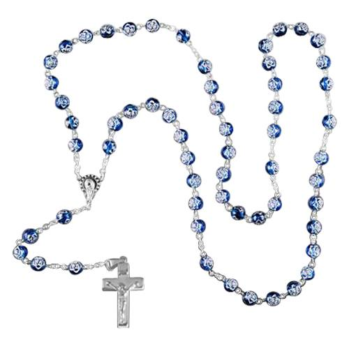 Blue Crystal Silver Cremation Rosary