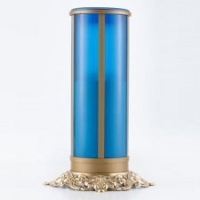 Blue Filigree Memorial Candle