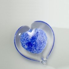 Blue Heart Small Glass Cremation Keepsake