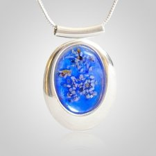 Blue Oval Cremation Ash Pendant