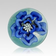 Blue Petals Ash Glass Weight