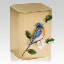 Bluebird on Dogwood Cremation Urn