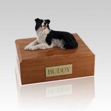 Border Collie Lying Large Dog Urn
