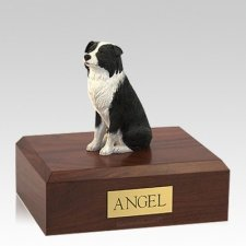 Border Collie Sitting Large Dog Urn