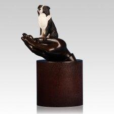 Border Collie Hands Dog Cremation Urn