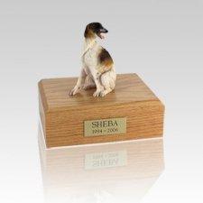 Borzoi Sitting Small Dog Urn
