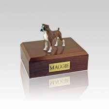 Boxer Brindle Ears Down Small Dog Urn