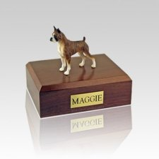 Boxer Brindle Ears Up Medium Dog Urn