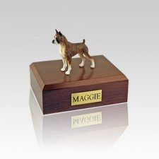 Boxer Brindle Ears Up Small Dog Urn