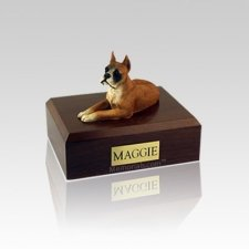 Boxer Ears Up Small Dog Urn
