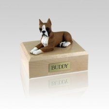 Boxer Fawn Ears Up Small Dog Urn