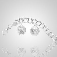 14k White Gold Pet Print Bracelet - 8 inch
