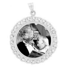 Ribbon Silver Etched Pendant