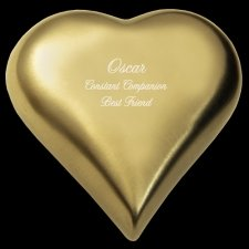Brass Heart Pet Cremation Urn