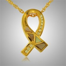 Breast Cancer Ribbon Cremation Pendant II
