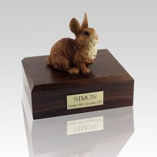 Brown & White Large Rabbit Cremation Urn