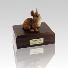 Brown & White Small Rabbit Cremation Urn