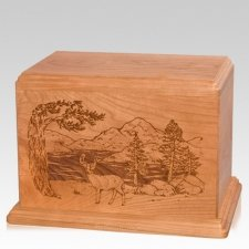 Buck Companion Cherry Wood Urn