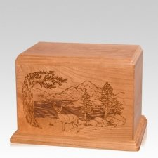 Buck Individual Cherry Wood Urn