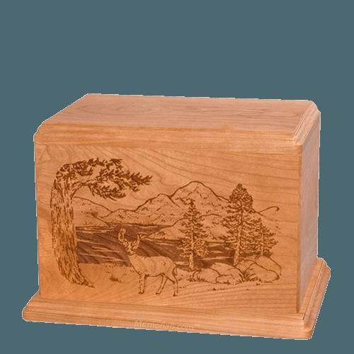Buck Individual Cherry Wood Urn