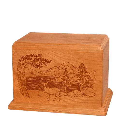 Buck Individual Mahogany Wood Urn