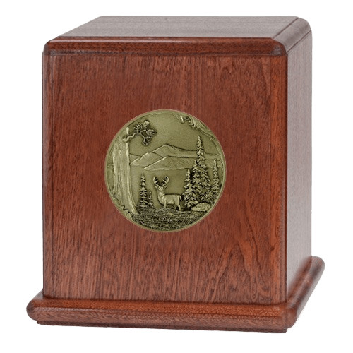 Buck Mahogany Wood Urn