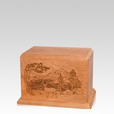 Buck Small Cherry Wood Urn