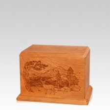 Buck Small Mahogany Wood Urn