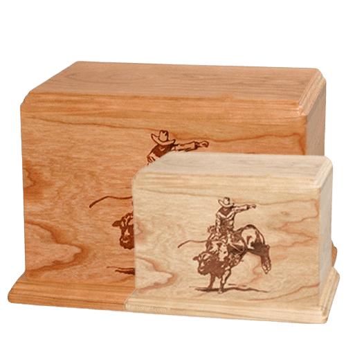Bull Rider Wood Urns