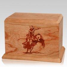 Bull Rider Companion Cherry Wood Urn
