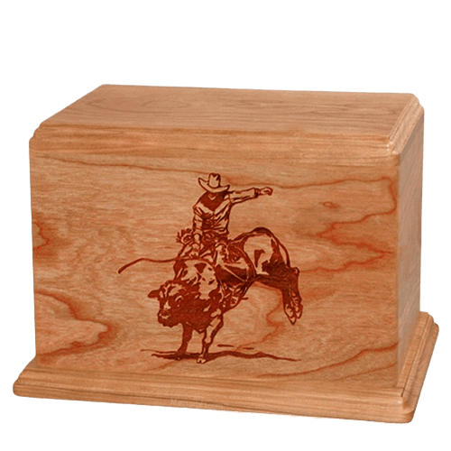 Bull Rider Companion Cherry Wood Urn