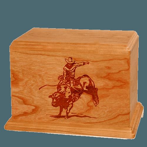 Bull Rider Companion Mahogany Wood Urn