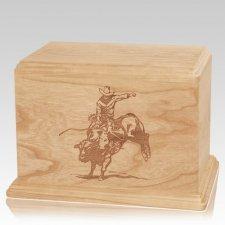 Bull Rider Companion Maple Wood Urn