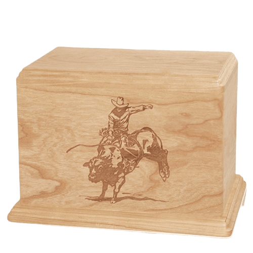 Bull Rider Companion Maple Wood Urn