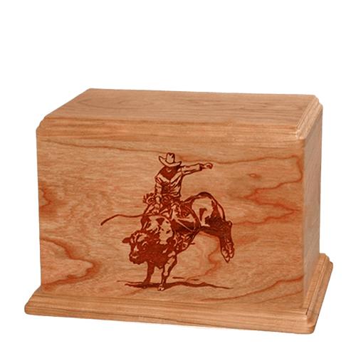 Bull Rider Individual Cherry Wood Urn