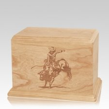 Bull Rider Individual Maple Wood Urn