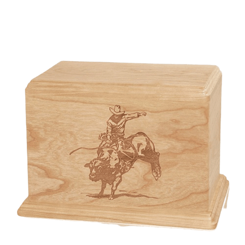 Bull Rider Individual Maple Wood Urn