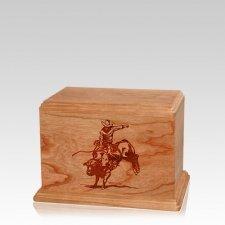 Bull Rider Small Cherry Wood Urn