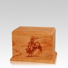 Bull Rider Small Mahogany Wood Urn