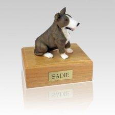 Bull Terrier Brindle & White Large Dog Urn