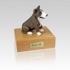 Bull Terrier Brindle & White Medium Dog Urn