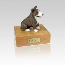 Bull Terrier Brindle & White Small Dog Urn